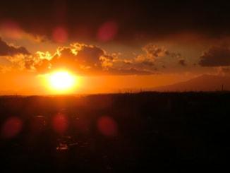 平成24年の大晦日の夕日