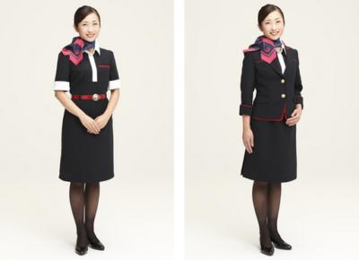 6月1日より着用が始まったJALの新制服。左が客室乗務員 女性 ワンピース/右が客室乗務員 女性 ジャケット