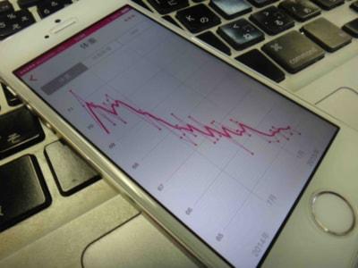 体重計に乗ると携帯に反映される。コイツを眺めてニヤニヤしていたのだが…