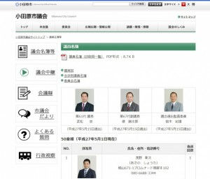 小田原市議会   議員名簿