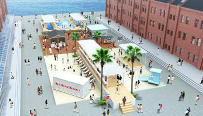 横浜赤レンガ倉庫で米西海岸のビーチリゾートをテーマにした夏季限定イベントを7/31~8/30開催