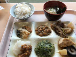 6つに仕切られた皿に欲張って乗せた。左下が醤油の実、中央上が塩納豆、中央下がだし、右上が芋煮だ。うーむ、山形な一皿だ