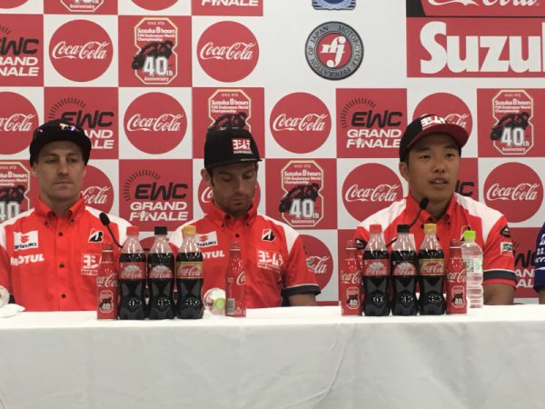 昨日のトップテントライアル後の記者会見でのヨシムラ。3人のシンパシーが気持ちよかった