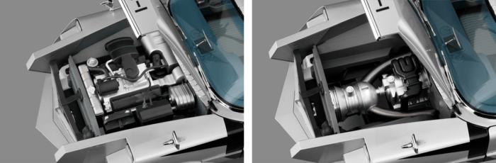 ボンネットを開けると、精巧につくられたエンジンが見える。その下にはジェットエンジンとロータリーエンジンの二系統エンジンも完全再現